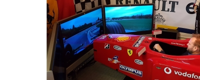 Jason just loves the Ferrari simulator