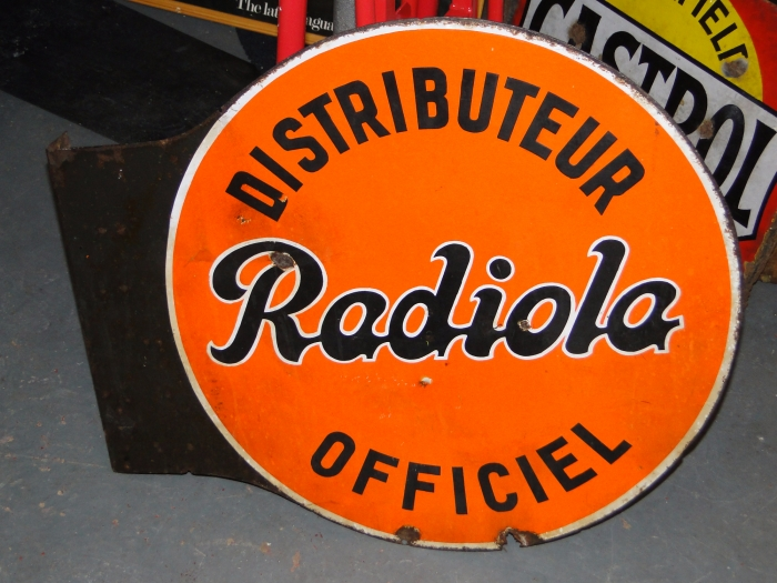 Radiola double sided enamel ORIGINAL sign SUPERB !
