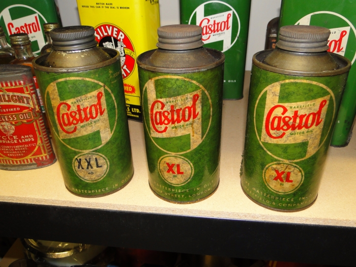 Castrol Oil cans set of three ( Wakefield 1940 s )