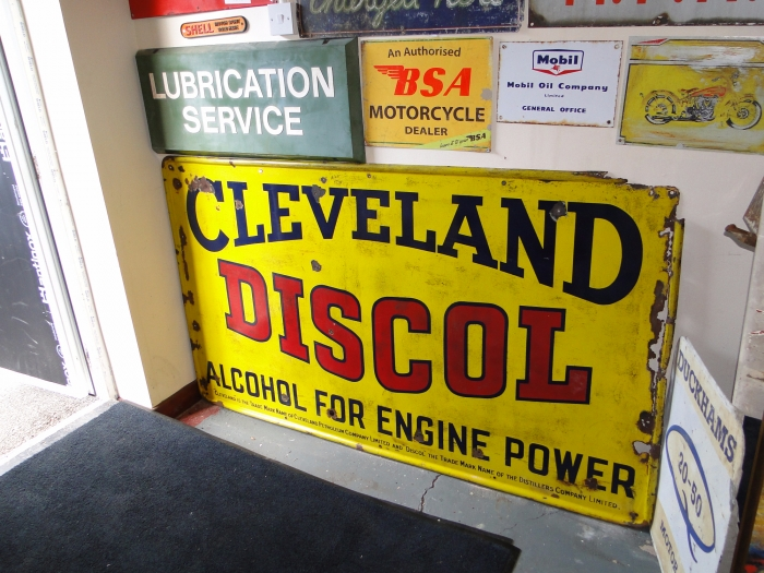 Cleveland Discol sign ORIGINAL ENAMEL  72 x 42 inches