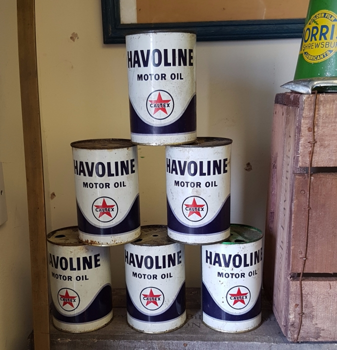 Havoline oil cans x 6