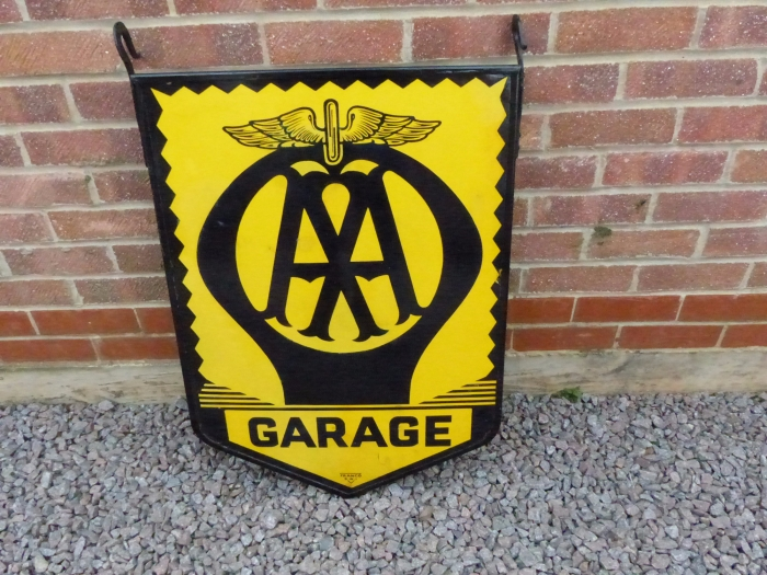 AA GARAGE double sided ORIGINAL enamel sign STUNNING SOLD to client in Ireland