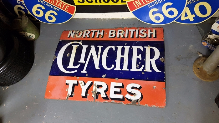 Clincher Tyres sign RARE item 48 x 26 ORIGINAL enamel superb patina