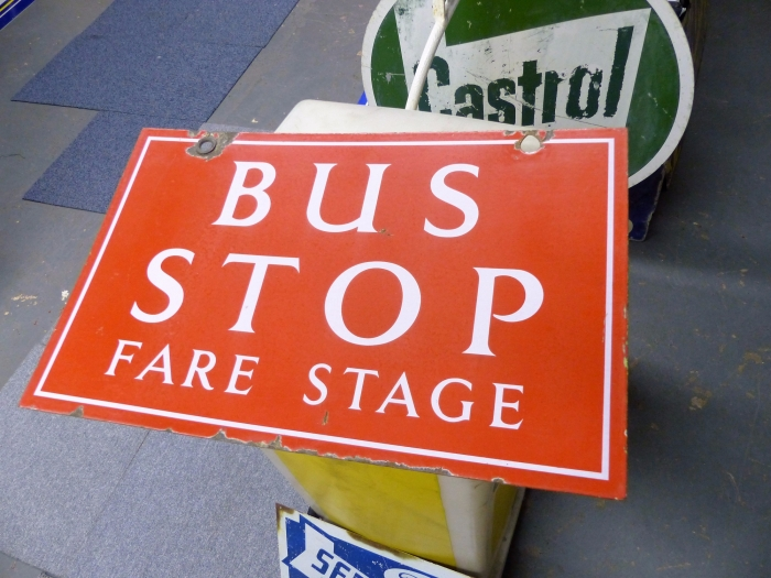 Bus Stop sign ORIGINAL ENAMEL double sided 19 x 12 STUNNER