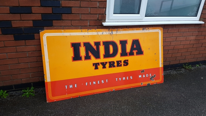 INDIA tyres GENUINE enamel sign 72 x 36 inches app.
