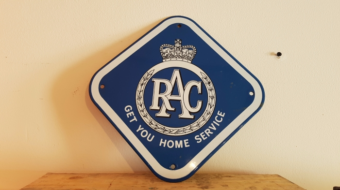 RAC enamel sign 8 x 8 inches repro