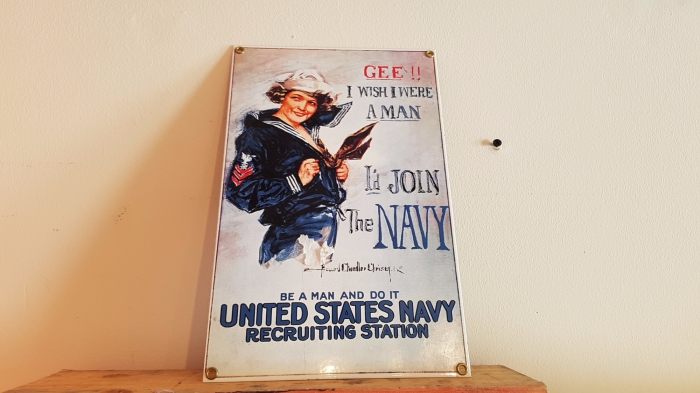 Join the Navy porcelain sign repro 12 x 8 inch