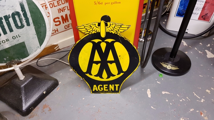 AA double sided enamel ORIGINAL sign great patina