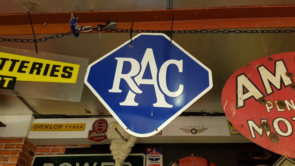 RAC double sided enamel ORIGINAL sign 22 x 22 inches superb