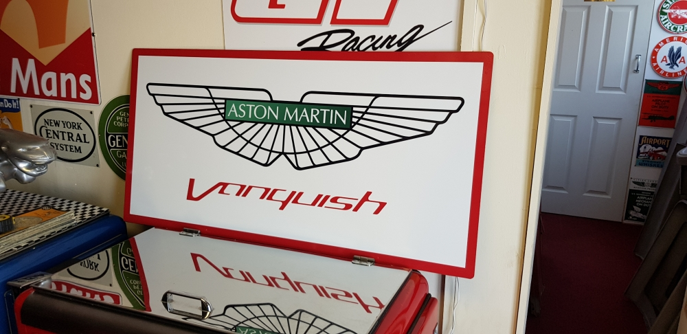 Aston Martin Vanquish alloy repro stunning sign 40 x 20 inches