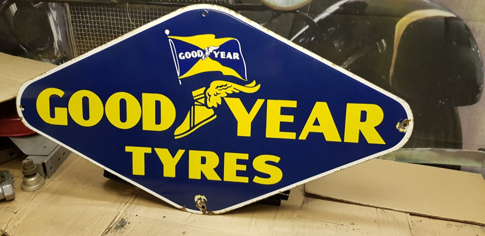 GOOD YEAR  tyres sign , ORIGINAL ENAMEL stunning sign