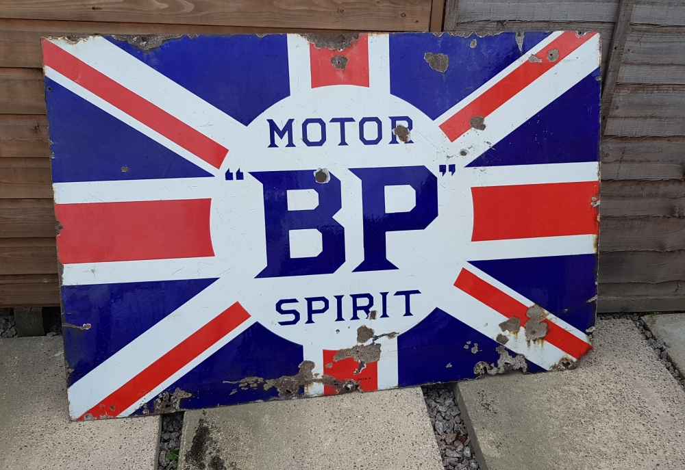 BP sign genuine enamel 54 x 36 inch superb item with stunning patina JUST ARRIVED