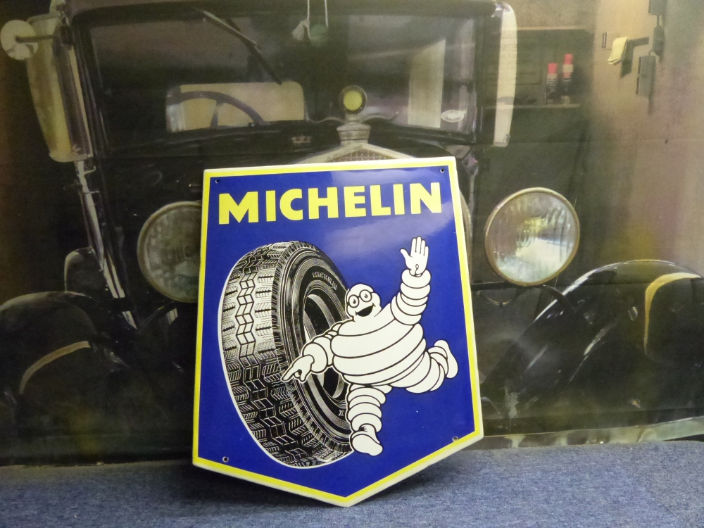 MICHELIN enamel Original sign 30 x 24 Fantastic sign !
