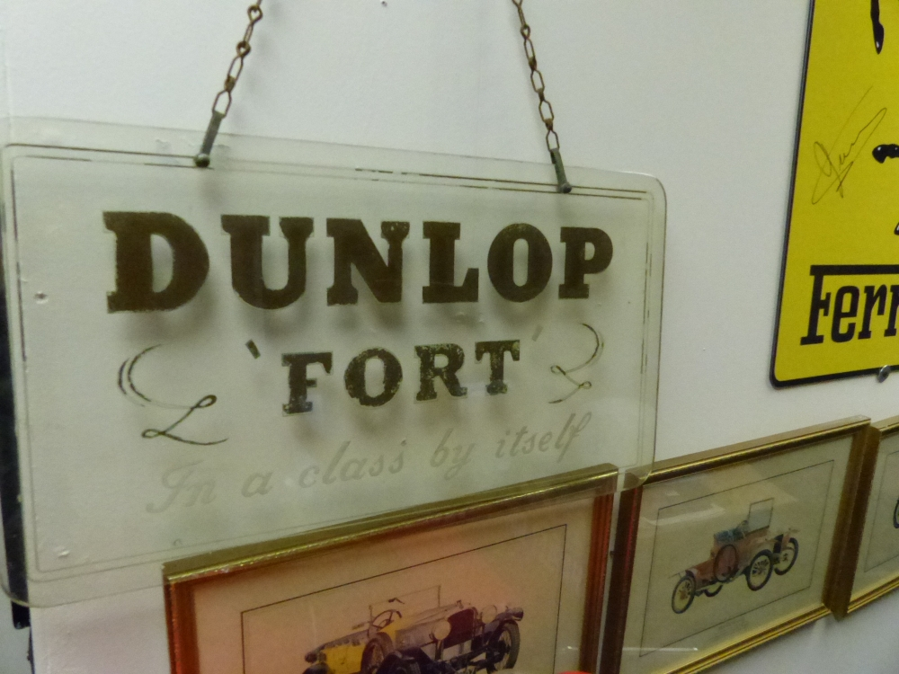DUNLOP FORT glass original plate sign 22 x 12 1930