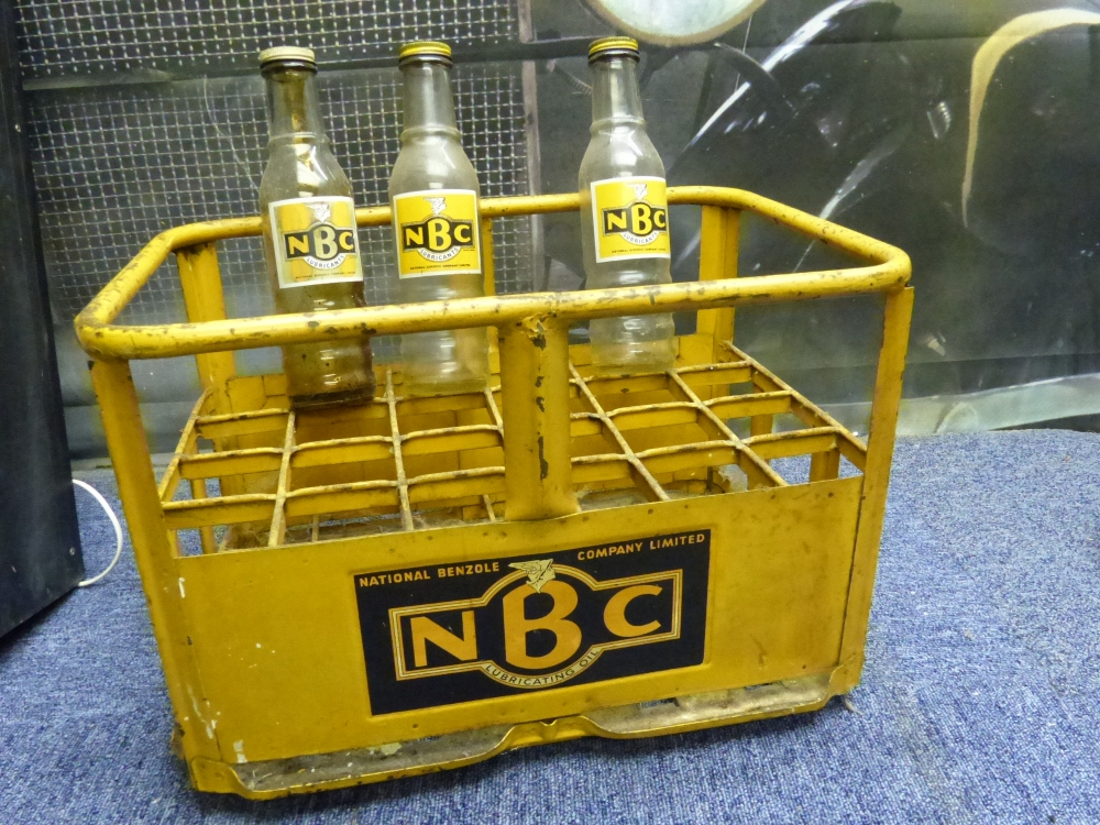 NATIONAL BENZOLE Crate with three original bottles RARE RARE ITEM !!!!!