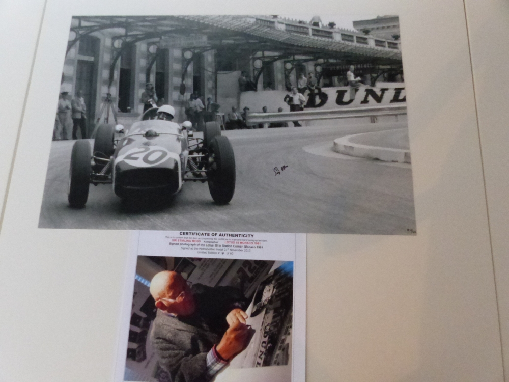 Sir Stirling Moss Monaco 1961 signed print GENUINE 100% Limited Edition