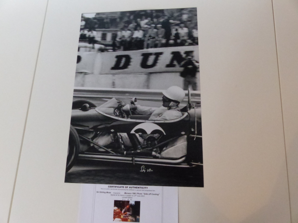 Sir Stirling Moss signed print GENUINE Monaco 1961 ( THIS IS NUMBER ONE ) of only 61 ONLY AVAILABLE TO ONE OF OUR REGULAR CLIENTS !!!!