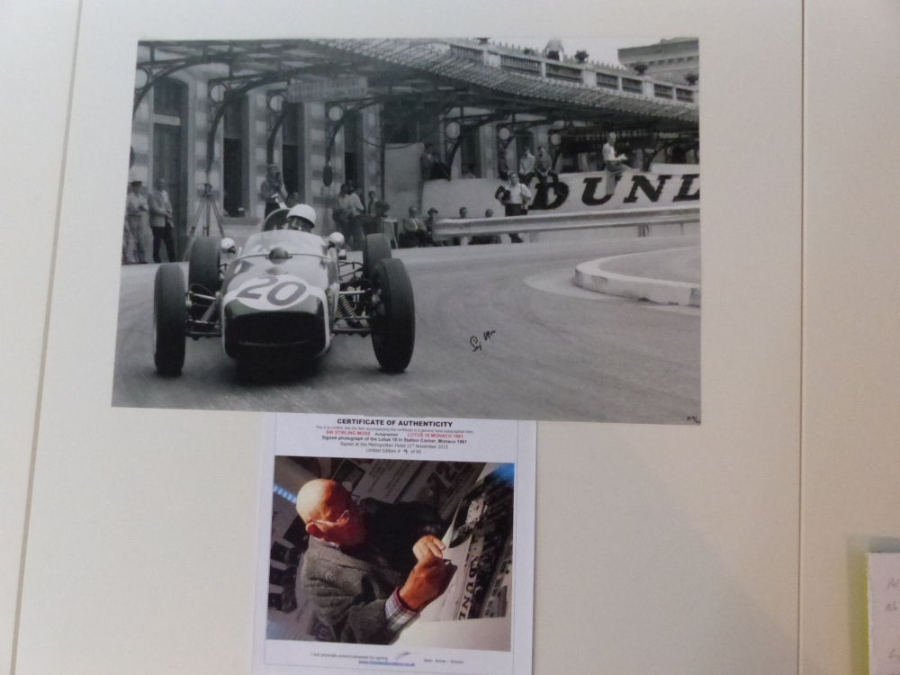 Sir Stirling Moss signed print 1961 Monaco Limited Edition GENUINE