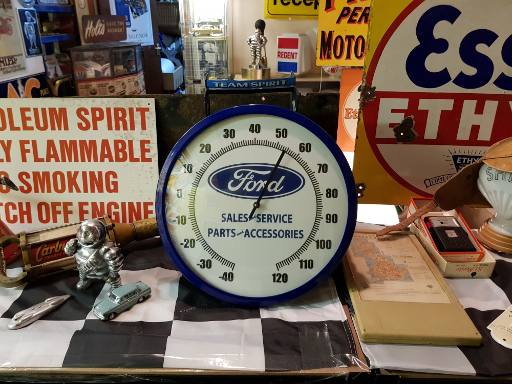FORD Thermometer metal cased round sign GREAT DISPLAY ITEM !