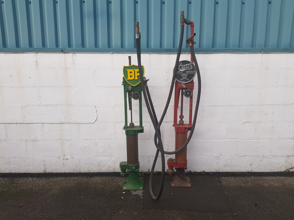 A pair of hand-crank pumps waiting restoration ONE NOW SOLD !