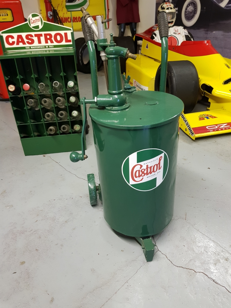 A CASTROL drum trolley on cast wheels , superb item !