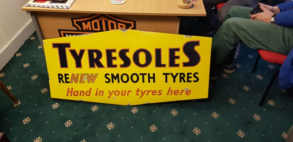 A Tyresoles enamel ORIGINAL sign what a stunner !!!!!