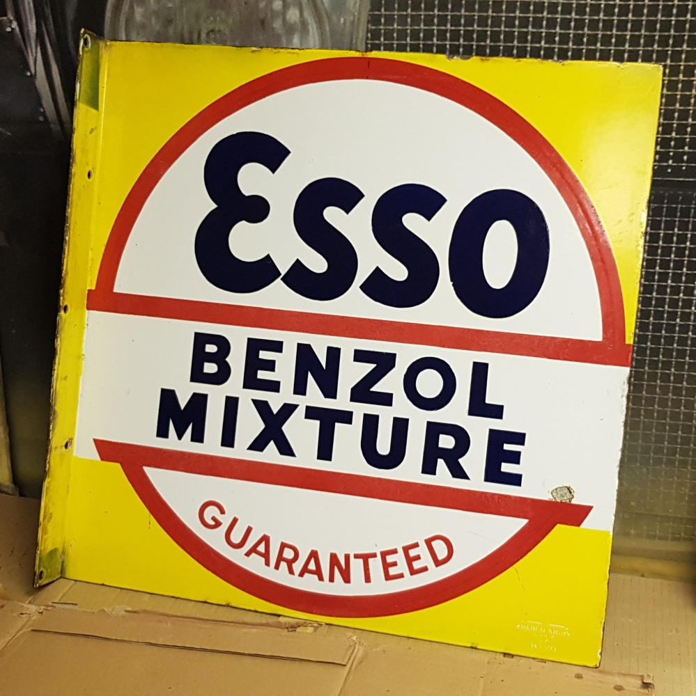 A superb ESSO double sided enamel ORIGINAL sign with flange