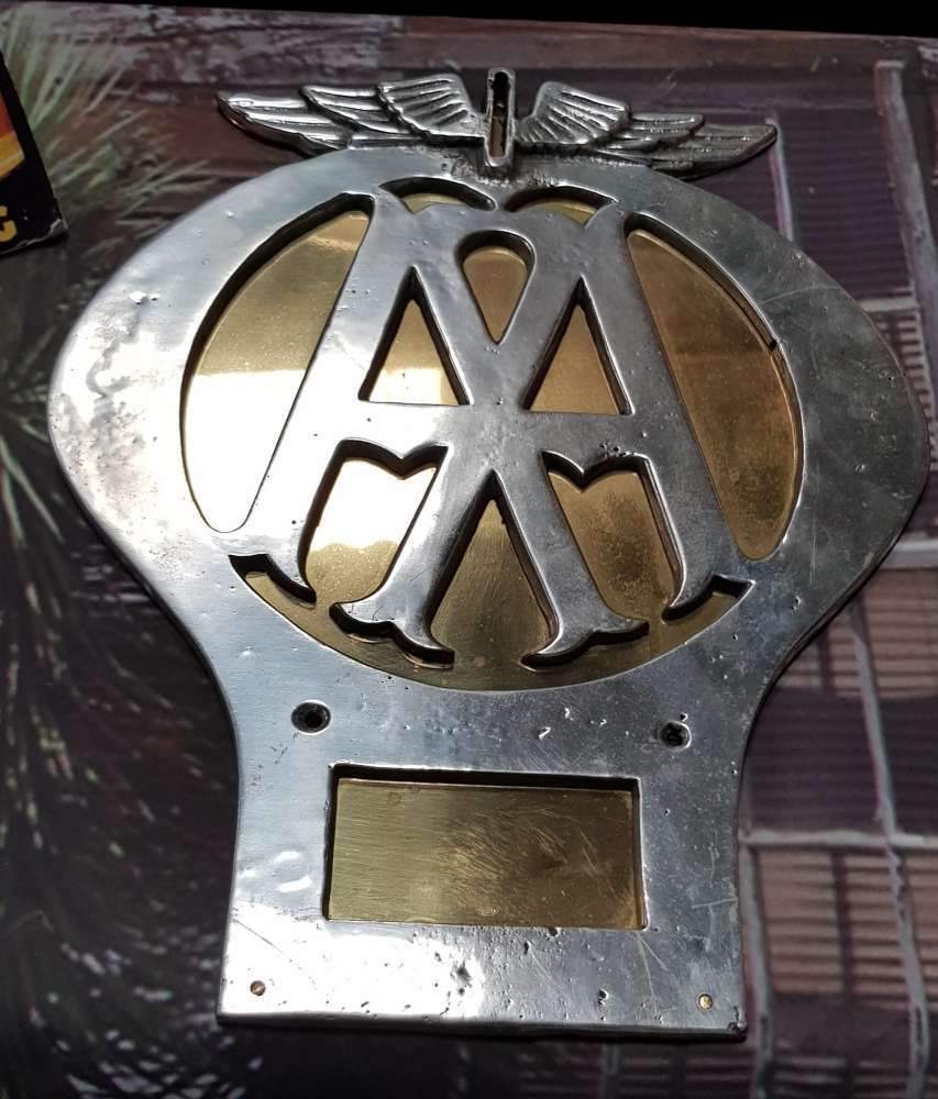 AA large wall sign chrome with brass back plate ORIGINAL