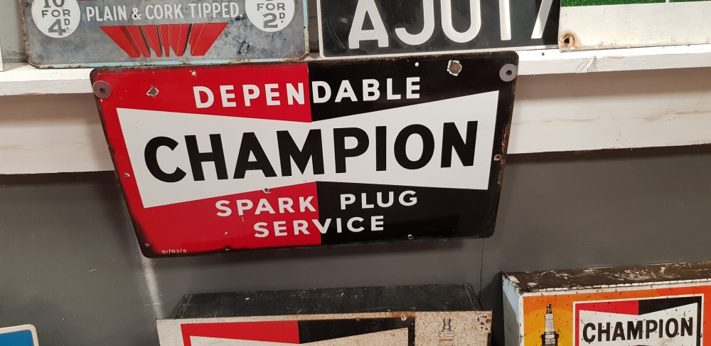 Champion ORIGINAL enamel sign 23 x 13 inches