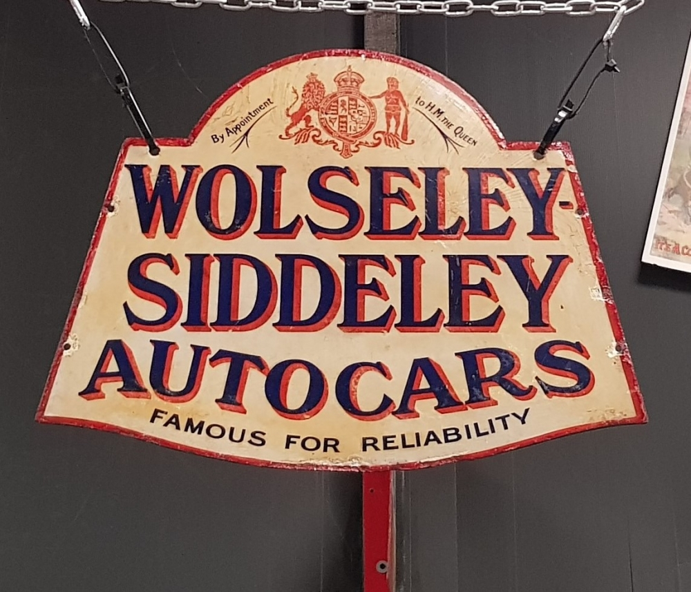 WOLSELEY SIDDELEY RARE RARE SIGN , Original double sided Enamel sign VERY VERY  RARE  early enamel sign