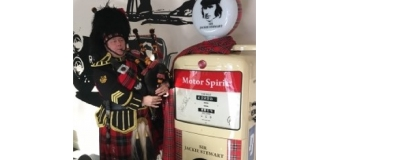 Sir Jackie Stewart pump welcomed to Scotland by Piper !!!!!