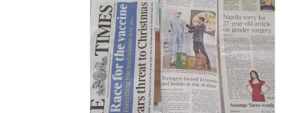 Stirling Moss race suit featured in THE TIMES newspaper