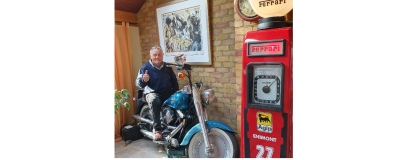 Ferrari pump with Nigel Mansell Harley !