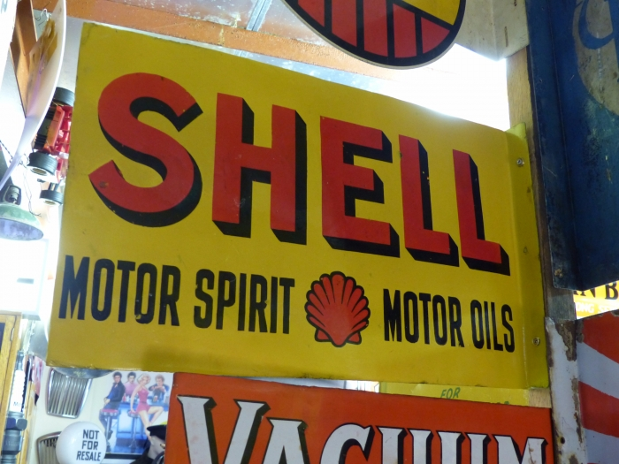 Shell Double Sided ENAMEL sign 24 x 15 restored