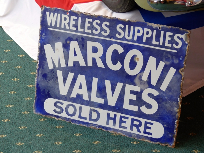 Marconi Valves sign Original double sided  a link to TITANIC ?