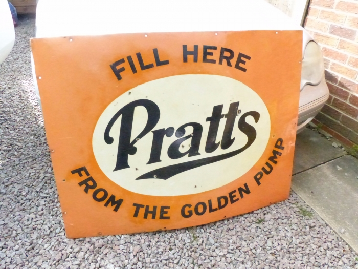 Pratts enamel sign Great patina 48 x 36 inches GENUINE SIGN