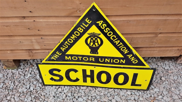 AA School sign ORIGINAL enamel