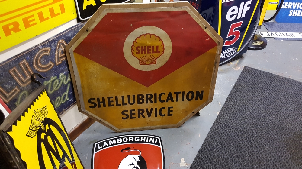 SHELL sign ORIGINAL tin sign large 36 x 36  inch .