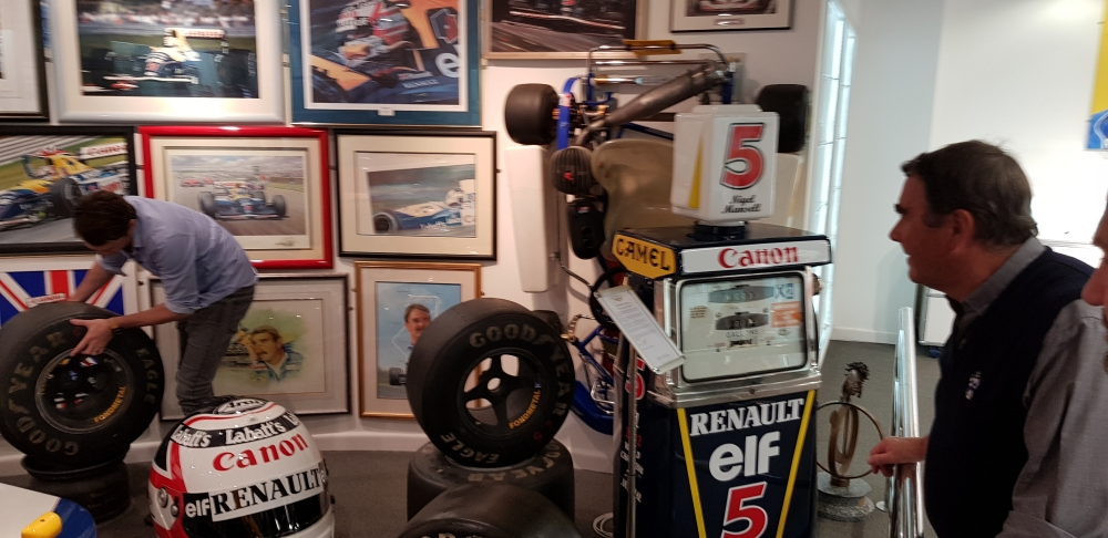 "Nigel Mansell "" Red 5  pump is now on display in his Jersey collection"