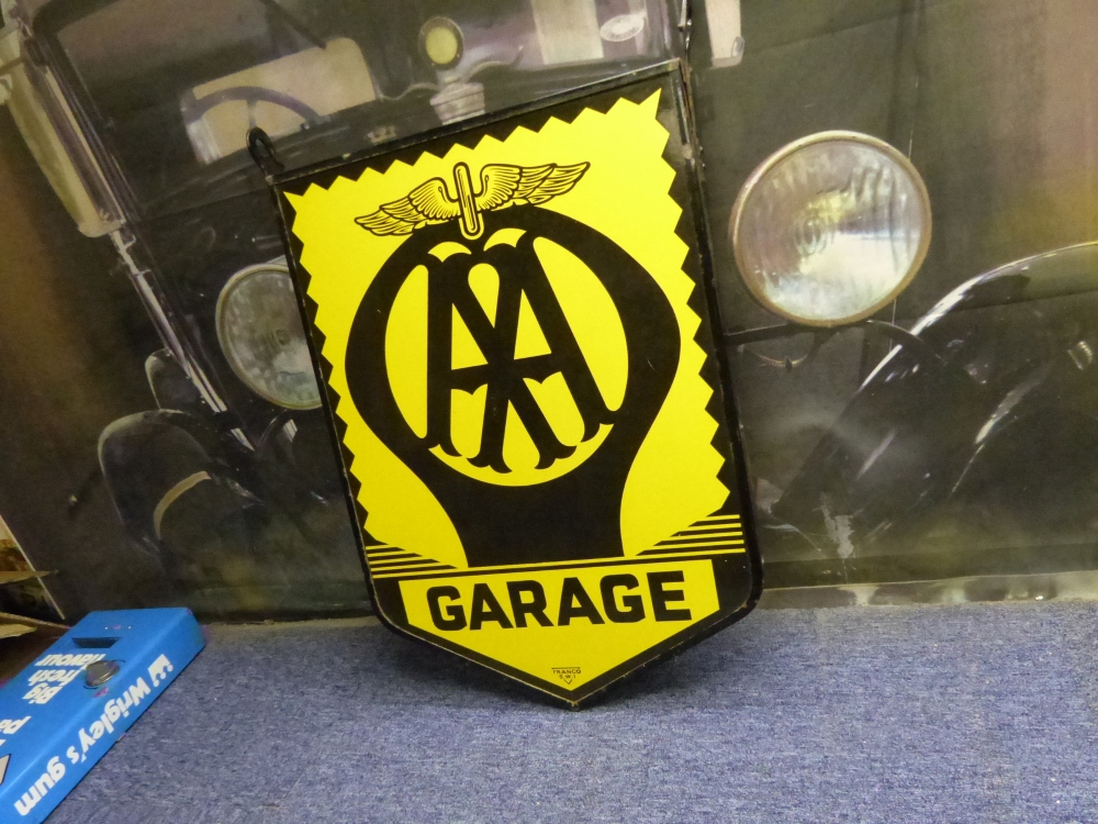 Garage AA double sided hanging ORIGINAL enamel sign BEST WE HAVE SEEN , STUNNING !