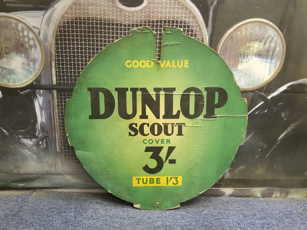 Dunlop Scout carded sign 24 inch rare item