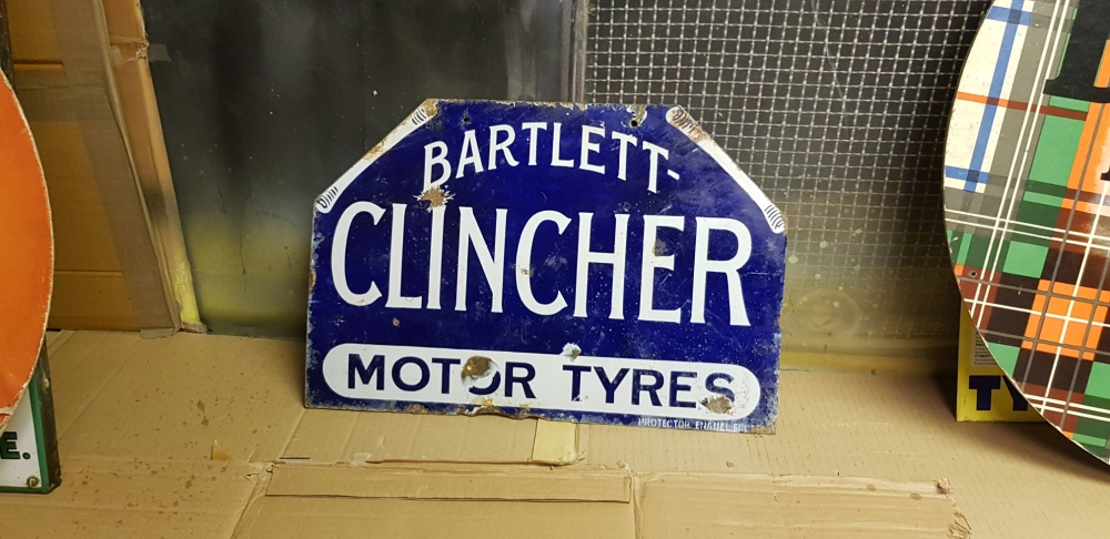 Bartlett-Clincher Tyres double sided enamel 1920