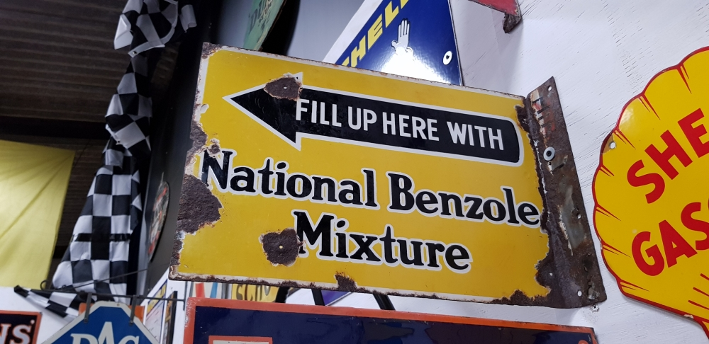 National Benzole enamel ORIGINAL 1930;s sign Double Sided !