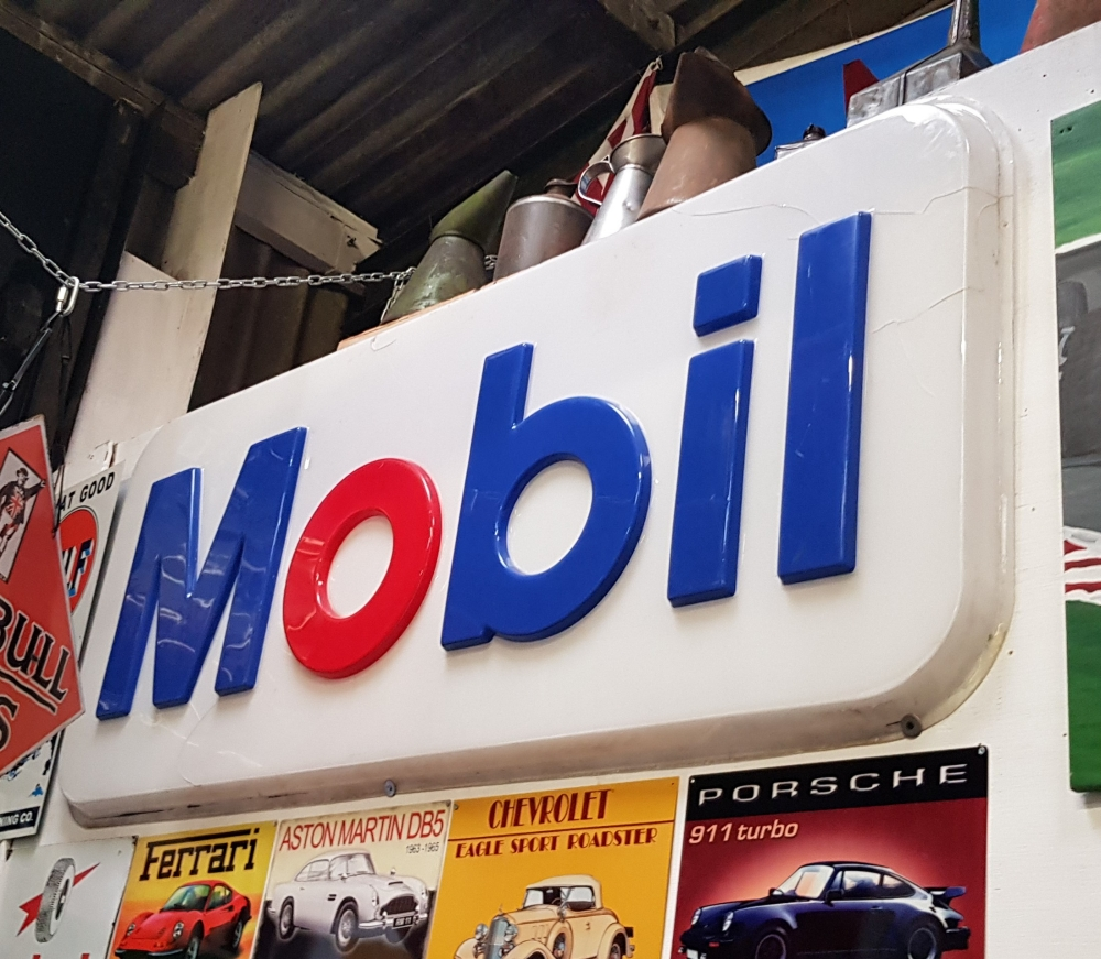 MOBIL Large plastic garage sign 78 x 36 inches great display item