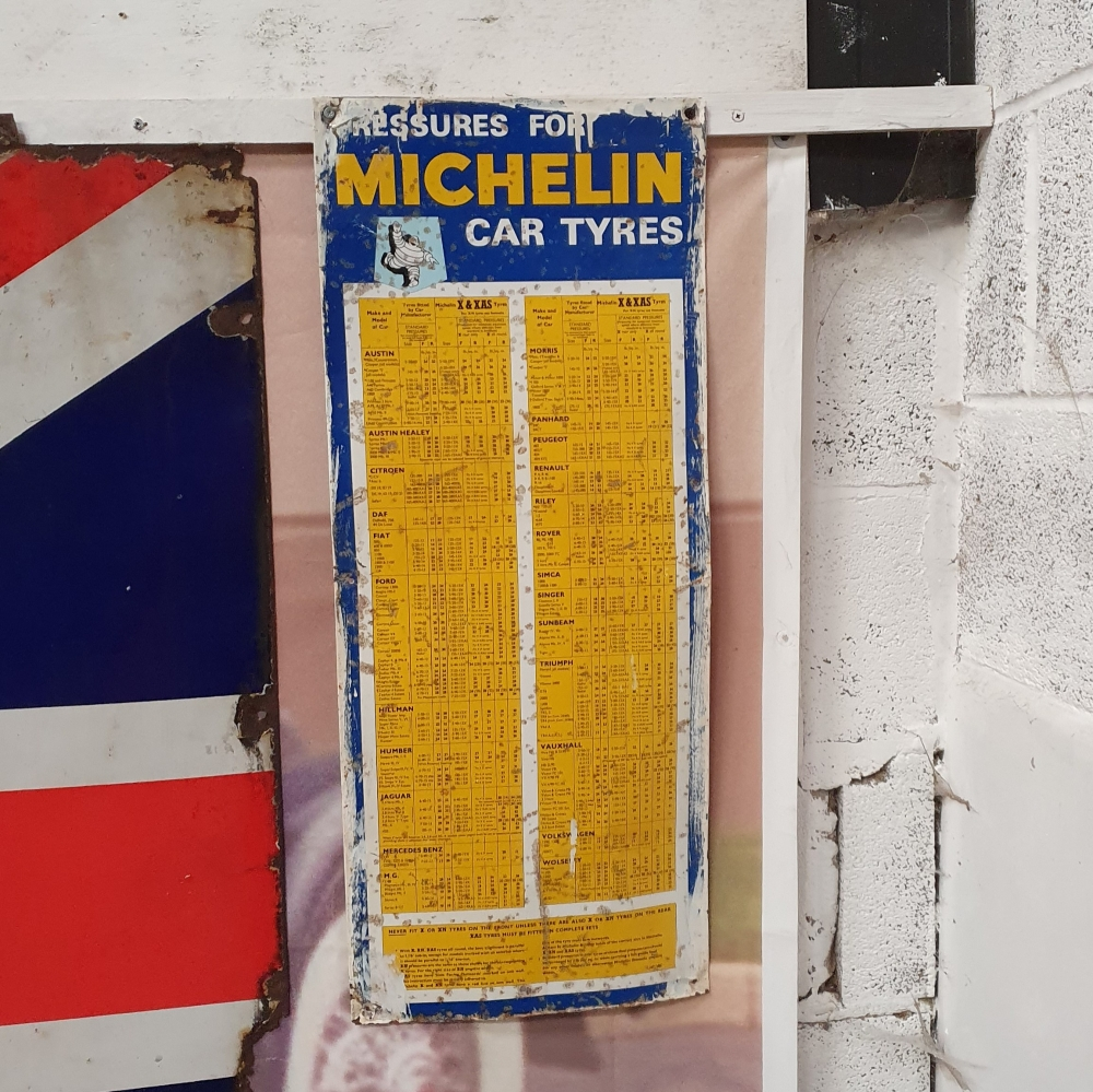 Michelin tyre pressure sign 29 x 12 inches