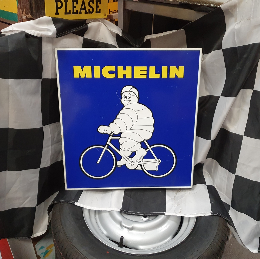 Michelin double sided tin sign 19 x 18 inch  JUST ARRIVED