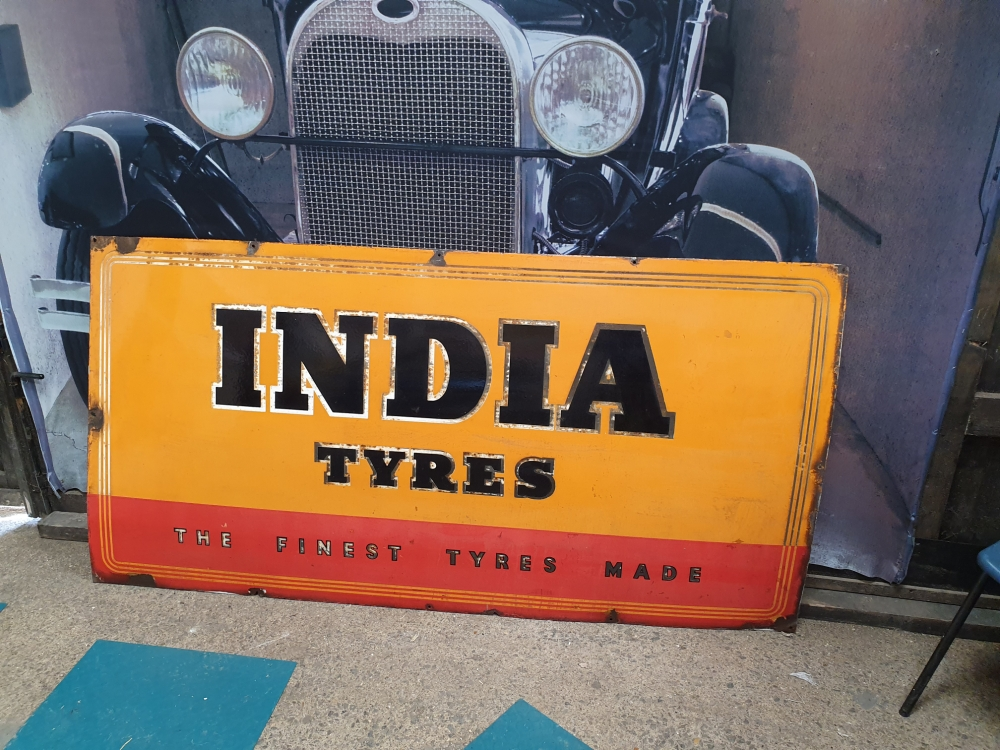 INDIA TYRES 72 x 36 inch enamel ORIGINAL just arrived